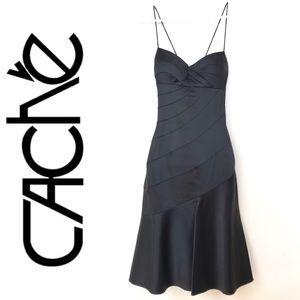Cache Black Satin Formal Spaghetti Strap Dress 4